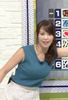 鷲見玲奈アナ(29)のノースリ着衣巨乳がぐうシコww【エロ画像】